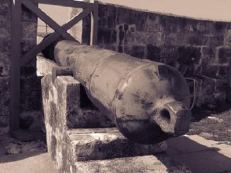La guerre est l'art de tuer en grand et de faire avec gloire ce qui, fait en petit, conduit à la potence. (Jean Henri Fabre). Photographie de Megan Jorgensen, un canon du fort Charlotte à Nassau.