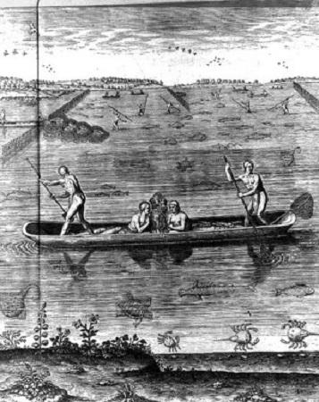 Indiens de la Caroline du Nord. Ces Indiens de la Caroline du Nord pêchent lors de la marée haute à bord du canoë, un homme pagaye, l'autre relève le poisson à l'épuiser, tandis qu'un homme et une femme veillent sur le feu, qui servira à fumer le poisson. Gravure de l'époque, réalisée par White.