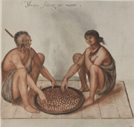 Le repas de ce couple d'Indiens est constitué de grains de maïs bouillis, servis dans une grossière écuelle de bois disposée sur une natte. Pour les Anglais, la longévité des Indiens était due à leur sobriété; ils buvaient et mangeaient avec modération.
