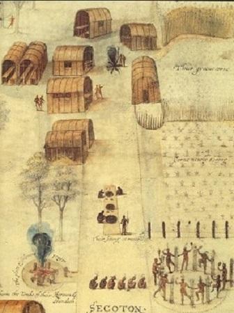 Ce plan en couleur de ce village porte diverses indications, permettant de repérer les champs de maïs, les lieux réservés aux repas ou aux diverses cérémonies ainsi qu'au feu incantatoire.