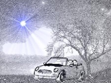 L'accident fut découvert au petit jour par deux routiers qui roulaient vers Nice. (Louis C. Thomas). Illustration par Megan Jorgensen.