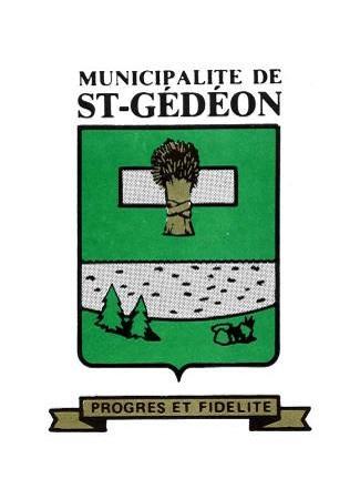 Armoiries de Saint-Gédéon. Source : Site Web de la municipalité. Image libre de droits.