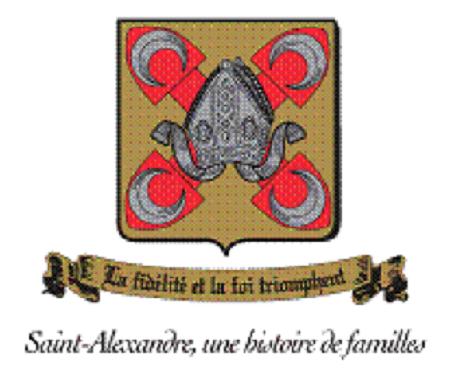 Armoiries de la municipalité de Saint-Alexandre. Source de l'image : Site Web de Saint-Alexandre, image libre de droits.
