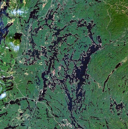 Réservoir Cabonga. Image satellite. Source de la photographie : NASA, image libre de droits.