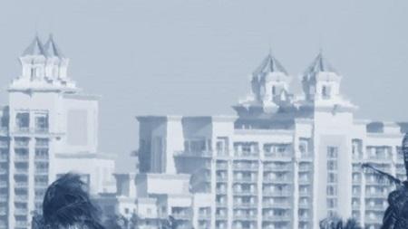 Vaste pièce au milieu de laquelle s'élève la montgolfière de cristal d'un lustre empire. Boiseries claires, murs peints à fresque, d'un vert pompéien.(Hérault de Séchelles Voyage à Montbard.). Illustration: Aquarelle. Vue sur Nassau. Megan Jorgensen.