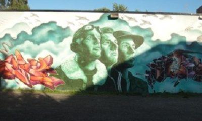 Ce serait un crime de montrer les beaux côtés de la guerre, même s'il y en avait! (Henri Barbusse). Photographie d'une mural à Montréal par Megan Jorgensen.
