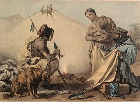 En 1842, John Richard Coke Smyth a peint cette scène intitulée Indians Bartering où commerçants et Amérindiens troquent des draps de laine de Montauban contre des fourrures ; la toponyme québécoise évoque ce commerce d'autrefois. Illustration libre de droits.