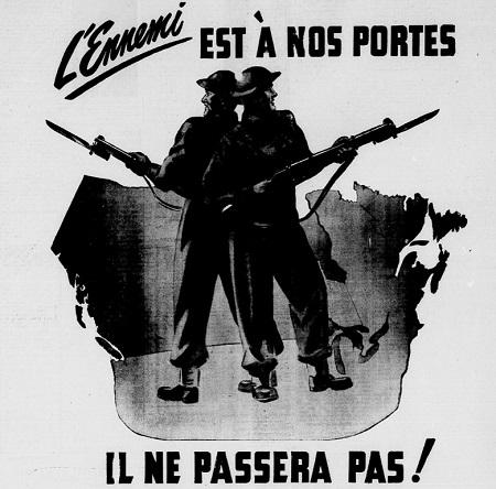 L'ennemi est à nos portes. Il ne passera pas ! Affiche publicitaire de 1942. Image libre de droits.