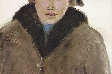Jean-Paul Lemieux, peintre du visage humain, a su exprimer, dans son style personnel, la douce nostalgie de Maria Chapdelaine, l'héroïne du roman de Louis Hémon. Image libre de droits.