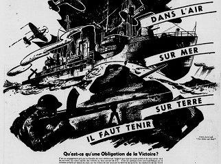 En avant Canada ! Dans l'air, sur mer, sur terre il faut tenir. Affiche pour les obligations de la victoire de l'époque. Image libre des droits.