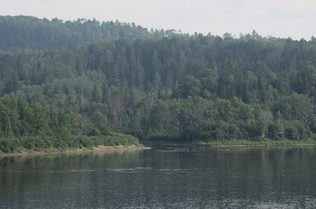 Point de confluence sur la rive gauche de la rivière Saint-Maurice vu du pont à péage.