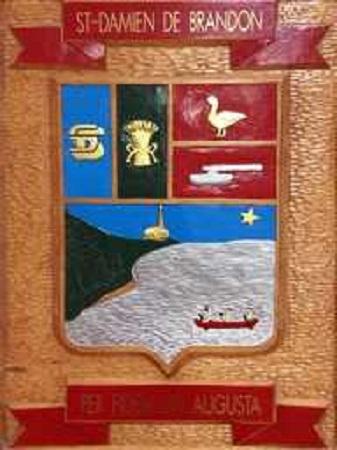 Armoiries de Saint-Damien. Source de l'image : Site Web de la municipalité.