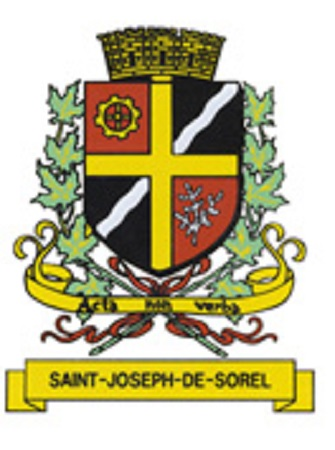 Armoiries de Saint-Joseph-de-Sorel. Source de l'image et la description : Site Web de la ville de Saint-Joseph-de-Sorel.