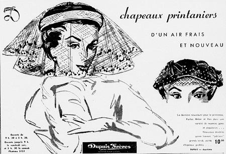 Chapeaux printaniers – d'un air frais et nouveau. La dernière nouveauté. Pour le printemps, Pailles Milon et Reo dans une variété de nuances gaies et populaires. Nouveaux modèles genre bonnet pill-box, grands bords, petits chapeaux profilés.