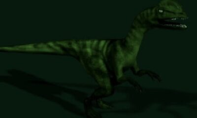 Une clameur déchirante s'éleva… c'était un gros dinosaure. Illustration : Megan Jorgensen.