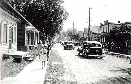 Rue Montcalm de Saint-Joseph-de- Sorel en 1940. Image libre de droits.