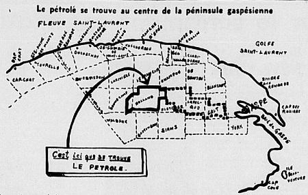 La partie ouest de la Gaspésie attire l'attention des Canadiens. On remarquera un peu au nord du centre de la péninsule les cantons Holland, Bonnecamp et Fletcher. C'est dans le premier qu'on trouvera le premier pétrole gaspésien, à une profondeur d'environ 5,000 pieds. On a atteint déjà 4,129 pieds. On remarquera que l'endroit est situé environ à mi-chemin entre Gaspé et Sainte-Anne-des-Monts (en haut, à gauche). Comme il n'a y pas de route pratique, on doit tout transporter, vivres, carburant, pièces de rechange, etc., au moyen d'auto-neige. Carte de l'époque, image libre des droits.