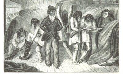 Poste de traite Mingan en 1862. Gravure de l'époque, image libre de droits.