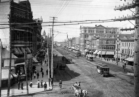 Winnipeg, la rue Main en 1894. Photo de l'époque, image libre de droits.