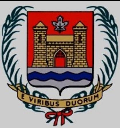 Voici les armoiries de la Cité de Verdun, telles que réalisées par l'institut Drouin de Montréal. En les adoptant dans la séance du 12 février 1952, le Conseil de la Cité a confié aux auteurs le soin de leur enregistrement immédiat à Ottawa. Image libre des droits.