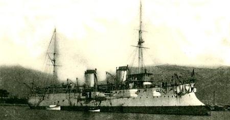Le croiseur français «Pascal», de la même classe que le croiseur «Descartes». Carte postale des années 1910, image libre de droits.