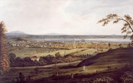 Cette aquarelle de James Duncan (1806-1881) datant de 1832 montre bien que le territoire de l'actuel Plateau Mont-Royal est toujours composé de grandes fermes, qui seront plus tard loties afin de former les premières rues du quartier. Aquarelle, gouache et mine de plomb sur papier.