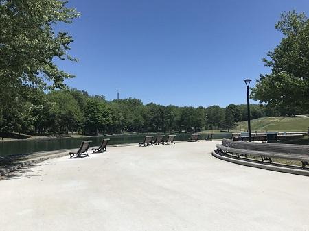 Bancs et la zone de détente autour du lac aux Castors. Photographie de Megan Jorgensen.