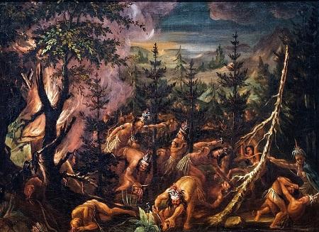 Massacre des Hurons par les Iroquois, toile de Joseph Légaré (1795-1855), image libre de droits.