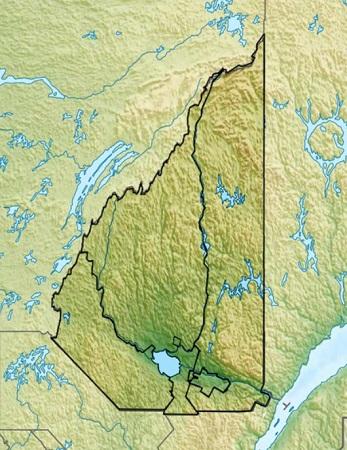 Région administrative du Saguenay-Lac-Saint-Jean. Carte géographique du territoire. Image libre de droits.