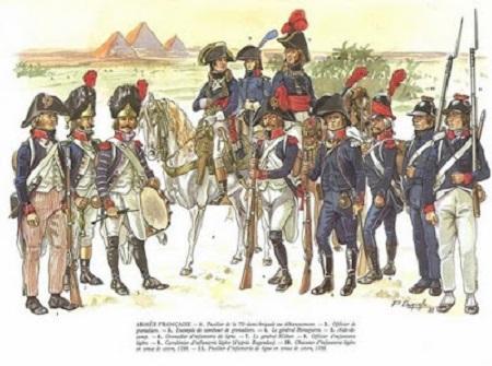 Officiers et soldats de l'armée française au début du XIXe siècle. Image libre de droits.