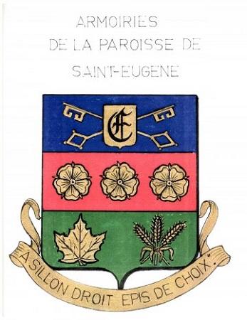 Armoiries de la paroisse de Saint-Eugène (Saint-Eugène-de-Grantham). Source de l'image ; Site Web de la municipalité.