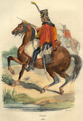 Un hussard français. Gravure par Hippolyte Bellangé, 1809.