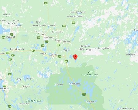 Localisation du lac Matchi-Manitou sur la carte géographique de l'Abitibi. Image libre de droits.