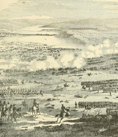 Le commencement de la bataille d'Austerlitz. Gravure de Northrop et Henry Davenport, 1903. Image du domaine public.