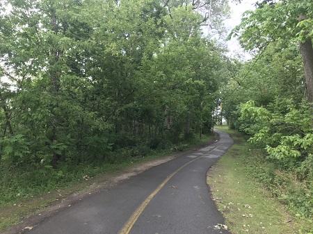 Sentier asphalté du parc de l'île Perry. Photographie de Megan Jorgensen.