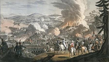 La bataille d'Austerlitz. Peinture ancienne. Image libre de droits.