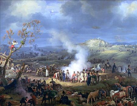 Bivouac à l'aube de la bataille d'Austerlitz. Peinture de Louis Francois Lejeune (1775-1848).