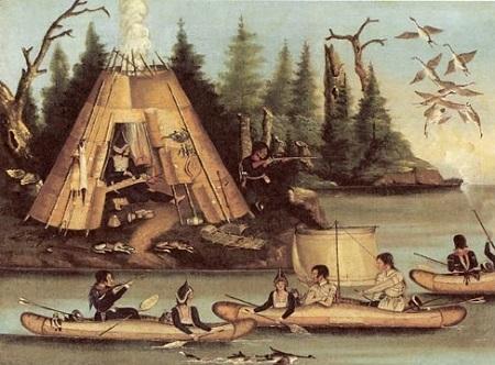 Un village micmac au XIXe siècle. Gravure ancienne. Image libre des droits.