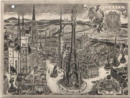 La ville d'Olmutz, une gravure ancienne.