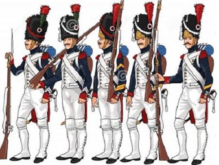 Heureux celui qui profite de l'exemple d'autrui. Soldats de la Grande armée. Image libre de droits.