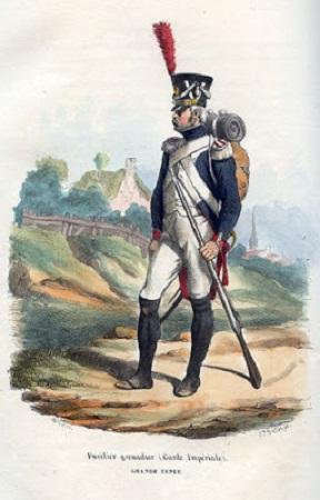Garde impériale. Fusilier grenadier en grande tenue par Bellange.