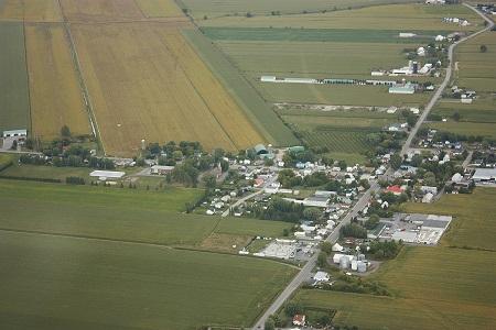 Vue aérienne de la municipalité de Saint-Barnabé-Sud. Source de la photo : Site Web de la municipalité.