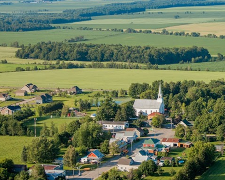 Vue aérienne de la municipalité de Sainte-Elizabeth-de-Warwick. Source de l'image : Site Web de la municipalité.