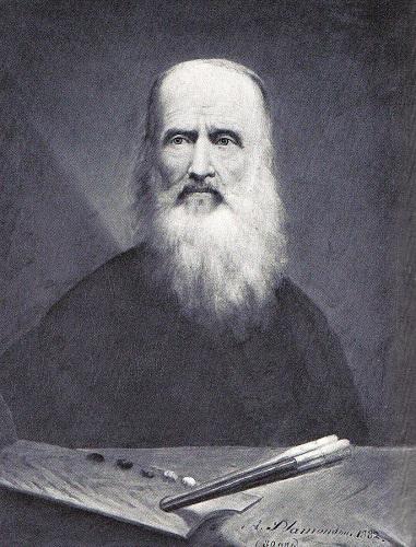Antoine Plamondon en 1885, autoportrait. Image libre de droits.
