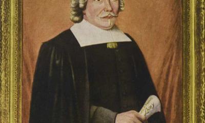 Portrait de Jérôme Le Royer de La Dauversière, peint par Émile Vézina. Image libre de droits.