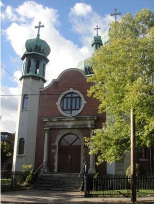 Église catholique ukrainienne du St-Esprit. 1770 rue Centre, Pointe Saint-Charles. Photo : © GrandQuebec.com.
