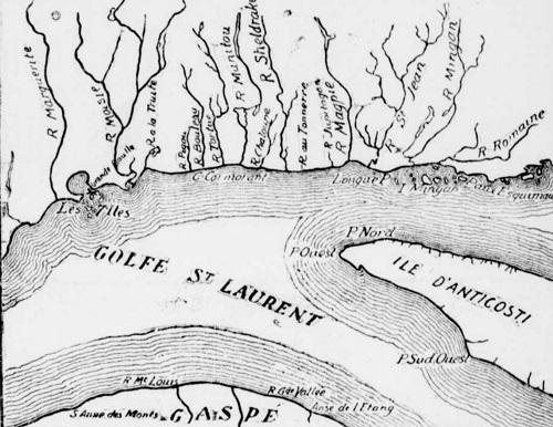 """Carte géographique du golfe Saint-Laurent, indiquant par une croix l'endroit précis ou eut lieu le naufrage du """"St. Olaf""""."""