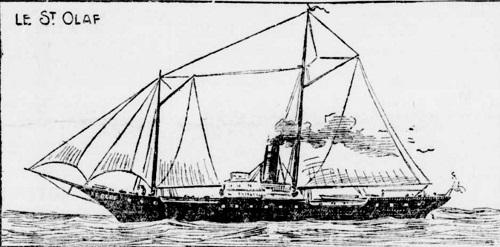 """Le """"St. Olaf"""", dont le naufrage, l'automne dernier, occupe l'attention des membres de l'expédition de """"La Presse""""."""