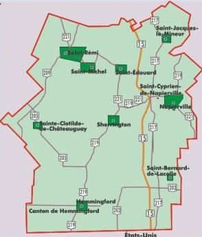 Jardins de Napierville carte géographique