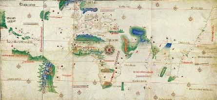Planisphère de Cantino, œuvre portugaise, enluminure sur parchemin, vers 1502, Biblioteca Estense Universitaria, Modène (David Lees)